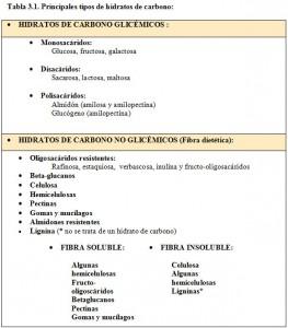 T.3.1. Tipos Hidratos de Carbono