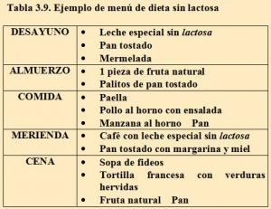 Tabla 3.9. Menú dieta sin lactosa