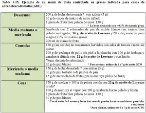 Tabla 4.15. Menú dieta adrenoleucodistrofia