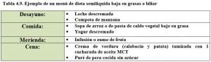 Tabla 4.9. Menú dieta baja en grasas semilíquida