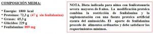 Tabla 5.26. Plan alimentario restringido en fenilalanina (2)