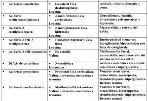 Tabla 5.33. Resumen principales enfermedades del metabolismo aninoácidos (2)