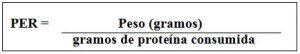 Fórmula cociente eficacia proteica